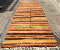 multicolor striped turkish kilim rug runner vintage handwoven