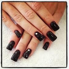 semi flare nails black with center diamond by nikki yelp