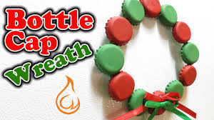 bottle cap wreath fun craft for christmas youtube