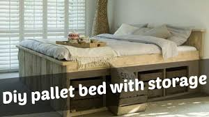 How To Build A King Size Platform Bed With Drawers by Diy Pallet Bed With Storage Ideas Youtube