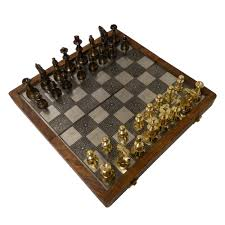 brass and wood folding chess set with storage
