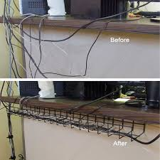 how to organize cables under desk under desk cable tray before and after icon organization