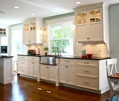 farmhouse flush kitchen traditional with wood cabinets handle