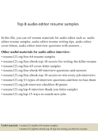 Photo Editor Resume Sample by Top 8 Audio Editor Resume Samples 1 638 Jpg Cb U003d1432975728