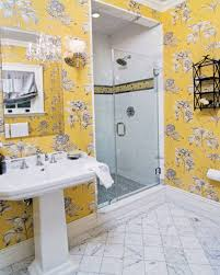 bathroom bathroom wall decor wallpaper bathroom yellow floral
