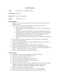 Packer Job Description Resume by Warehouse Supervisor Job Description For Resume Free Resume