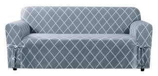 Grey Sofa Slipcover by Sure Fit Lattice Box Cushion Sofa Slipcover U0026 Reviews Wayfair
