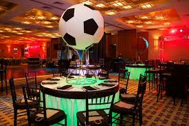 themed centerpieces a with these soccer theme bar or bat mitzvah ideas