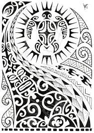 polynesian shoulder tattoo with turtle mantas pigeons sun lizard