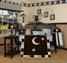 Blue Nursery Bedding Sets by Geenny Blue Brown Moon U0026 Star 13pcs Crib Bedding Set