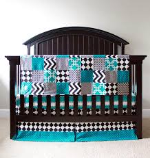 custom crib bedding black and turquoise madhatter bedding one