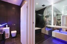 bathroom modern blue theme led bathroom lighting with glass