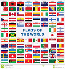 Flags Of The Wrld Sorted Flags Of The World With Detailed Emblems Stock Vector