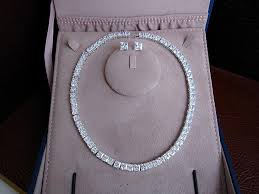 swarovski platinum necklace images Platinum plated princess cut tennis necklace silver and jpg
