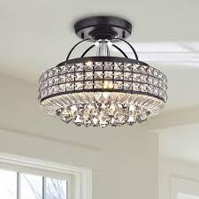 crystal semi flush mount lighting jolie antique black drum shade crystal semi flush mount chandelier
