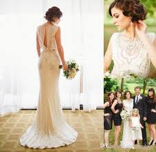 2017 jenny packham wedding dresses crepe sheath bridal gowns with