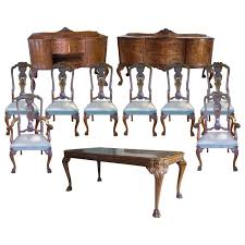 photo of walnut victorian dining table queen anne chair set