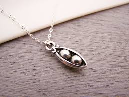 peas in a pod charm dainty two pea pod charm sterling silver necklace simple jewelry