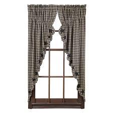 country black tan star prairie swag window curtains 72x63 check