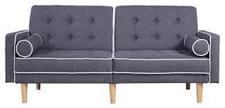 mid century modern two tone splitback tufted linen futon
