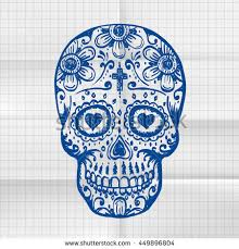 exercise book day dead skull sketch stock vector 449896804
