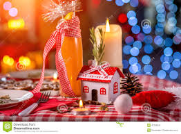 sweet christmas decorated table stock photo image 47228355