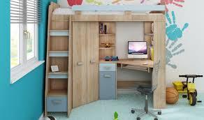 lit mezzanine avec bureau et rangement lit surelevé enfant avec rangement bureau et armoire intégré