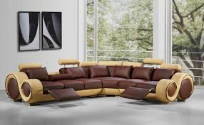 Power Sectional Sofa Sectional Recliner Sofa With Cup Holders In Chocolate Microfiber