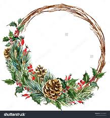 watercolor drawing isolated christmas wreath with fir pine cones