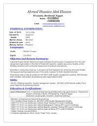 Resume Format For Mechanical Sr Qa Qc Mechanical Engineer
