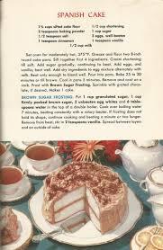 vintage recipes 1950s cakes spanish cake antique alter ego