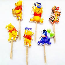 96pcs tiger bear winnie the pooh donkey cupcake toppers picks