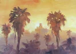 tom brown los angeles sunset palm trees by tom brown