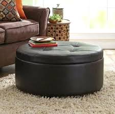 Leather And Wood Coffee Table Storage Ottoman Leather Ottoman Coffee Table