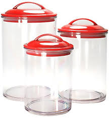 kitchen canisters plastic red amazon com