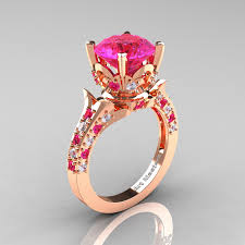 pink wedding rings images Classic french 14k rose gold 3 0 carat pink sapphire diamond jpg