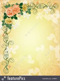 Roses And Butterflies - illustration of wedding invitation roses border
