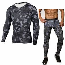 mens skinny base suits fitness sportswear camouflage breathable