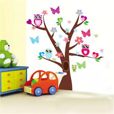 popular tree wall sticker buy cheap tree wall sticker lots from wise owls butterflies on colorful tree wall stickers for kids rooms 1006 decorative nursery home decor