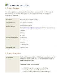 pmo charter template