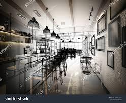 Interior Design Of Shop Sketch Design Coffee Shop 3d Wire Stock Illustration 307202264
