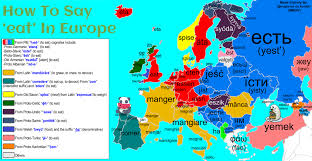 how do you say map in how to say the verb to eat in europe with etymology maps