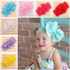 baby girl headwraps children kids baby lace elastic big large hair bows