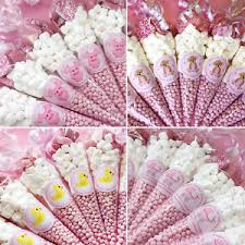 pink baby shower personalised pink baby shower favours filled sweet cones party