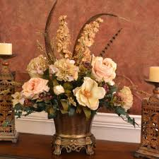 Fake Flowers For Home Decor Elegant Silk Flower Centerpiece With Roses And Magnolias And