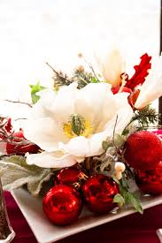 Dining Room Flower Arrangements - table decoration top notch image of red baubles white flower
