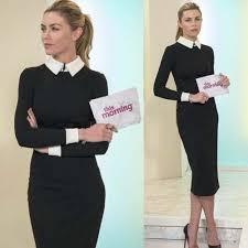 tenue de bureau femme elégante robe noir bureau tenue professionnelle manche longue
