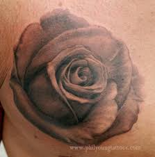 black and grey rose tattoo by phil young tattoos
