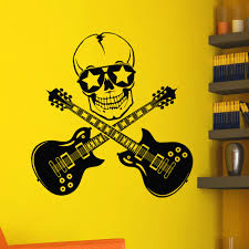 online get cheap guitar window sticker aliexpress com alibaba group rock art creative designed wall stickers double guitars with skull silhouette special wall murals home musical