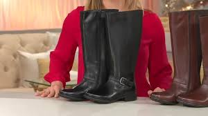 clarks womens boots qvc clarks leather shaft boots w buckle detail plaza pilot